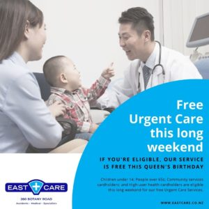 Free Urgent Care service this Queen's Birthday Weekend